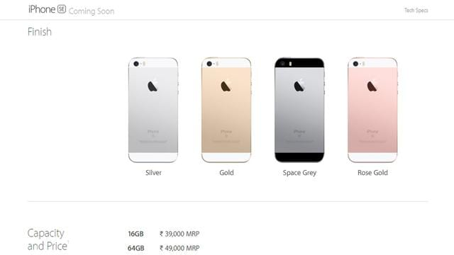 iphone se 64gb will be available for rs 49 000 tech hindustan times. Black Bedroom Furniture Sets. Home Design Ideas