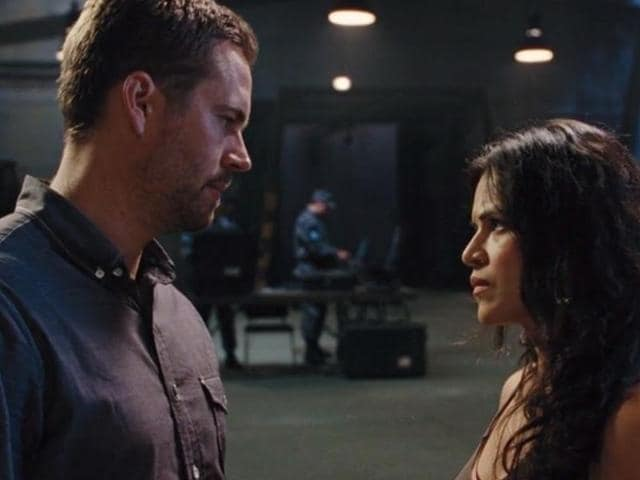 Letty and Bryan in a still from Fast and Furious 6.