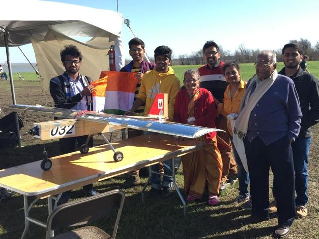 The NIT-J team with their award-winning aircraft model at a competition organised by the Society of Automotive Engineers Aero Design in Texas between March 11 and 13.