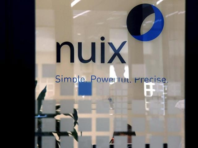The logo of software company Nuix can be seen in their office located in central Sydney, Australia.