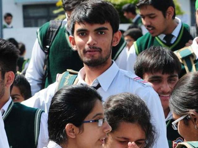 CBSE class 12 students after appearing in an exam, in Bhopal.