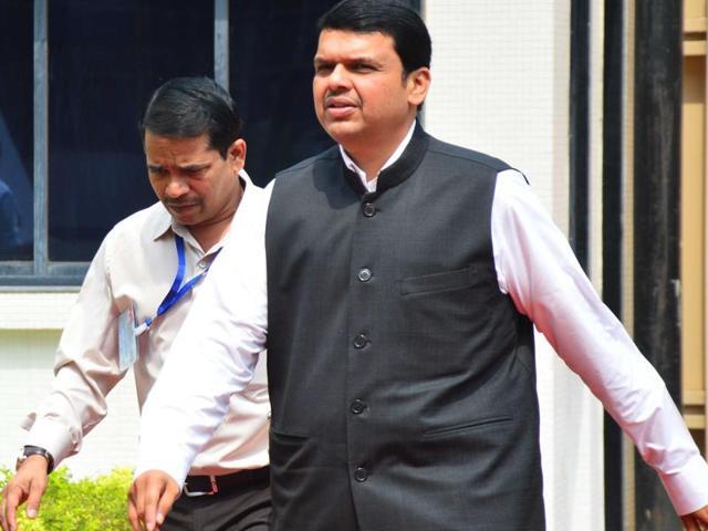 CM Devendra Fadnavis outside the Vidhan Bhavan.