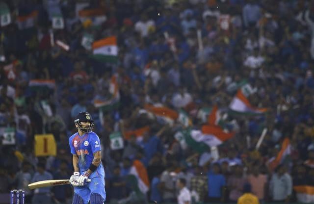 Virat Kohli waits to play a shot during the World T20 semifinal.