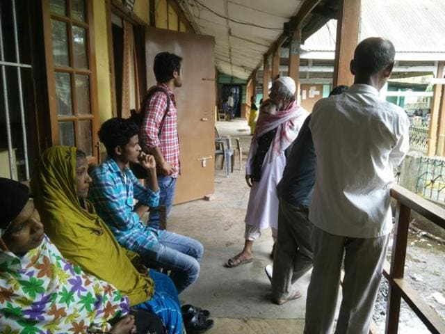 Goalpara, Assam - March 28 : D (doubtful) voters waiting outside the Foreigners Tribunal Office, Goalpara, Assam India on Monday March 28th, 2016. (Photo by Subhendu Ghosh / Hindustan Times)