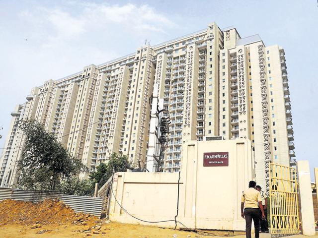 Valuables and cash worth crores were stolen from an apartment in the upscale DLF Magnolias on Saturday.