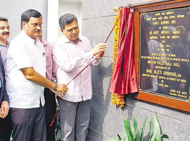Director-general, Sports Authority of India, Injeti Srinivas inaugurating the indoor volleyball hall at the NIS in Patiala on Monday.