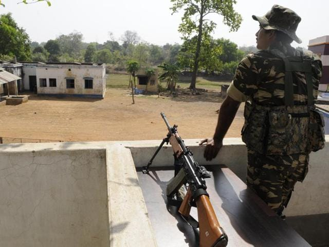 A CRPF jawan on duty near Parliament House in New Delhi. Indian forces have been waiting for new weapons
