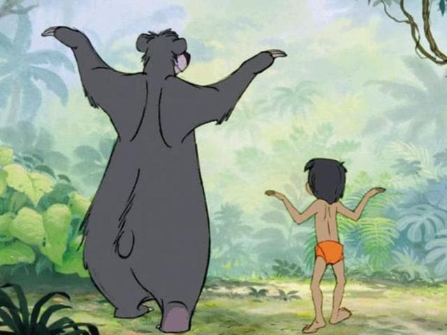 A still from the Bare Necessities song from the original Jungle Book.