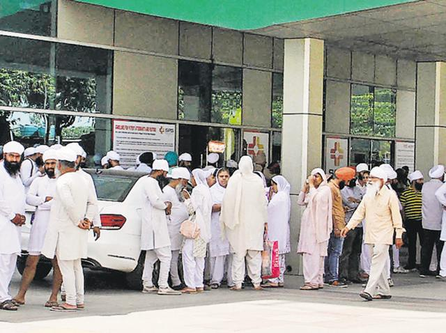Followers of the Namdhari Sect gathered at the hospital shortly after Mata Chand Kaur was shot at .