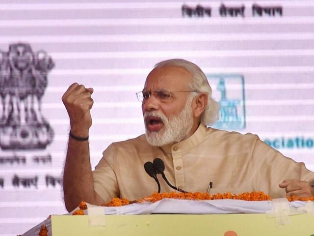 Prime Minister Narendra Modi addresses at the launch of 'Stand up India' and e-Rickshaw distribution programme, in Noida, Uttar Pradesh on Tuesday, April 5, 2016.