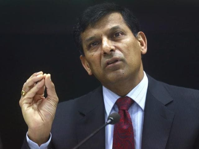 RBI governor Raghuram Rajan addresses a press conference on the first monetary policy announcement of the current fiscal year in Mumbai on Tuesday.