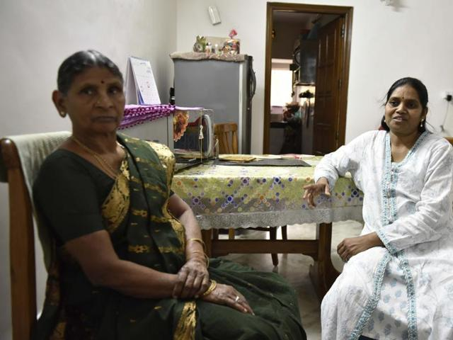 A S Vasantha wife of University professor, G N Saibaba who is granted bail by Supreme Court on Monday. Delhi University professor arrested for alleged Maoist links, on medical grounds, at her residence at Vasant Vihar in Delhi, India, on Monday, April 4, 2016. (Photo by Vipin Kumar / Hindustan Times)