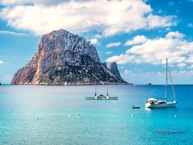The picturesque view of the mysterious island of Es Vedra,  Ibiza, Spain.