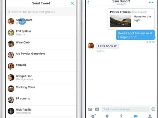 A new 'message' button has been added to Twitter on smartphones running Android and iOS