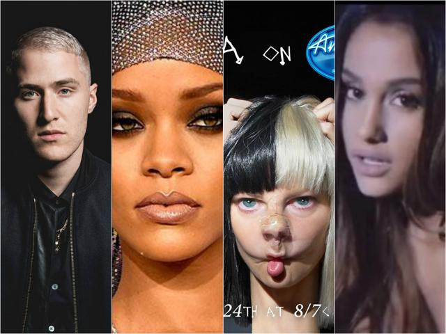 Top international artists in music in March include Mike Posner, Rihanna, Sia and Ariana Grande among a host of others.
