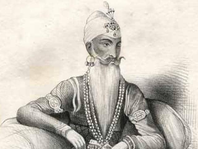 Maharaja Ranjit Singh, lithograph of water colour and pencil original. He sat for a Delhi artist, Jivan Ram, who accompanied Governor-General Bentinck on his visit to the Maharaja at Ropar in 1832. This portrait is one of two completed by Jivan Ram during that meeting.