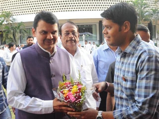 Chief minister Devendra Fadnavis outside the Vidhan Bhavan on Wednesday.