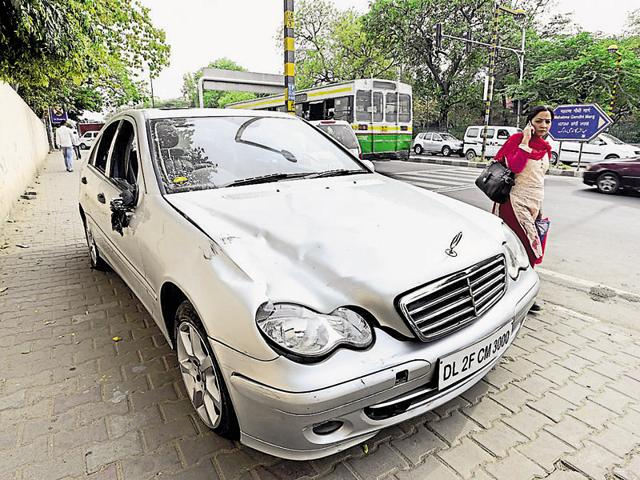 The car that was left behind by the accused after mowing down Siddhartha Sharma.