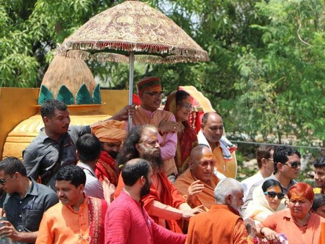 Sadhus take out their procession in Ujjain on Tuesday.