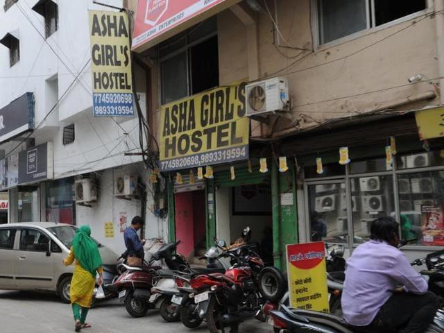 Students near a girls' hostel in MP Nagar in Bhopal.