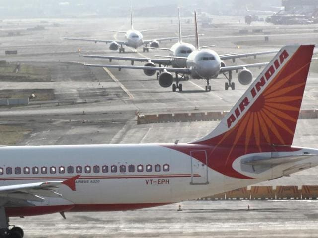 File photo of an Air India plane takes off at Mumbai Airport .