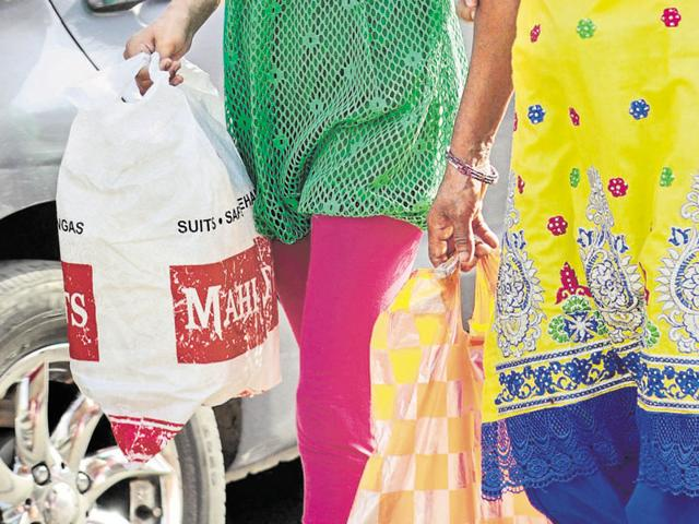 Polybags still in use at various places in Patiala.