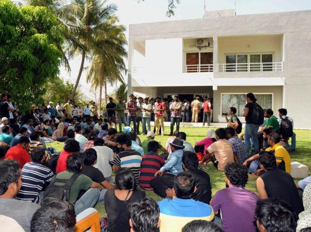 Students and activists gathered at the University of Hyderabad to demand the removal of vice-chancellor Appa Rao on Wednesday.  Photo from a previous protest.