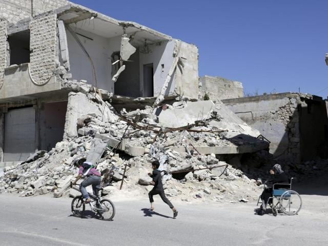 The Britain-based Syrian Observatory for Human Rights said 70 people, including 30 children, were wounded in the attack, adding that the shelling was a violation of a ceasefire agreement.
