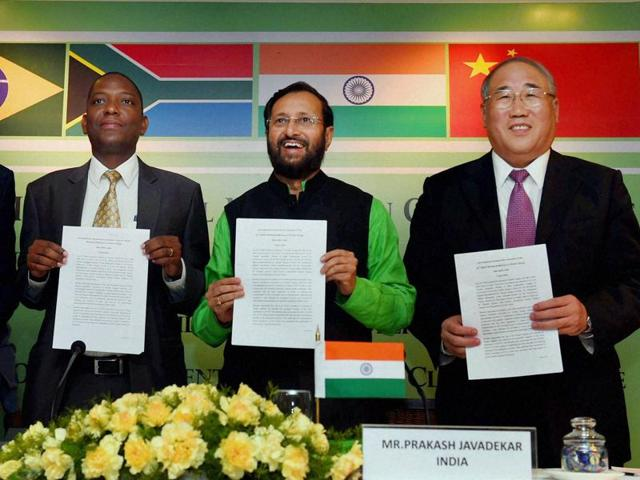 Union environment minister Prakash Javadekar with China's climate envoy Xie Zhenhua and South Africa's Maesela Kekana during a press conference on '22nd BASIC ministerial meeting on Climate Change' in New Delhi