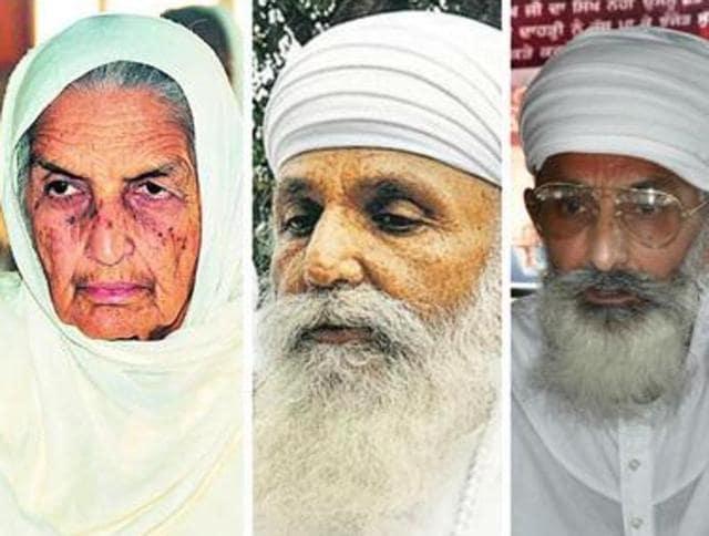 (From left) Chand Kaur,  Satguru Uday Singh and Thakur Dalip Singh.