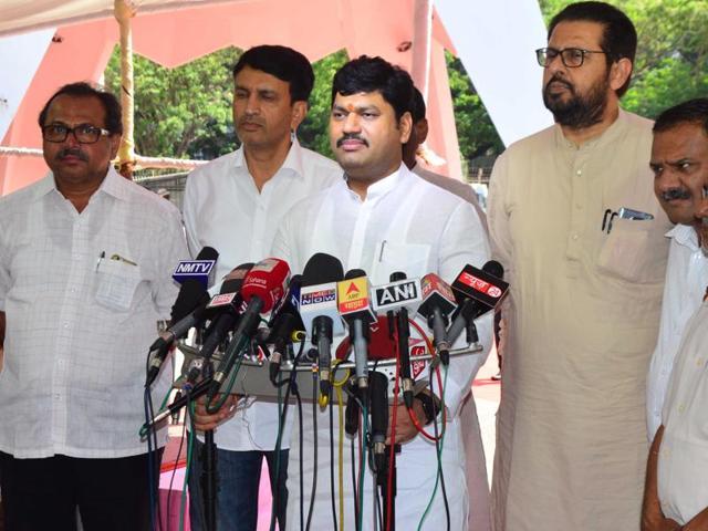 Leader of Opposition Dhananjay Munde speaks to the media outside the Vidhan Bhavan on Thursday.