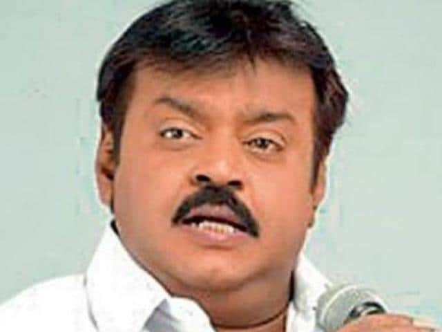 A file photo of DMDK chief Vijayakanth at a Tamil Nadu rally.