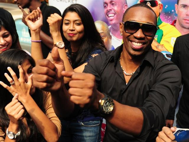 West Indies cricketer Dwayne Bravo attends the launch of the 'Ultimate Sports Coaching' cricket camp.