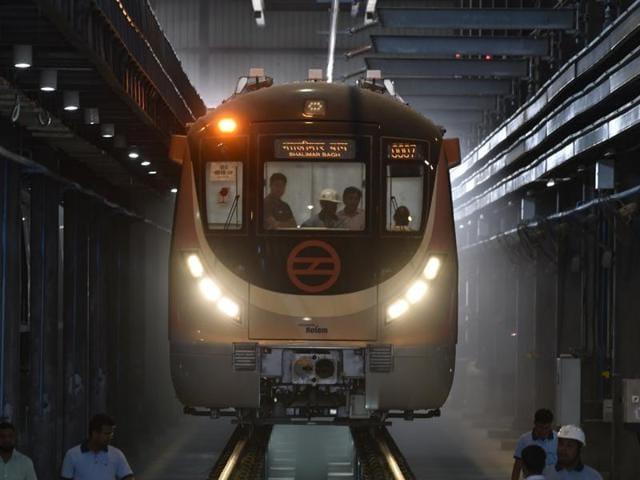 Delhi first driverless metro trains at Mukandpur DMRC Depot .(Vipin Kumar/HT Photo)