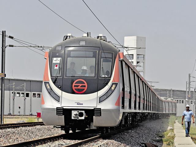 Delhi Metro's first driverless train at the Mukundpur DMRC Depot. The trial runs will begin in July.