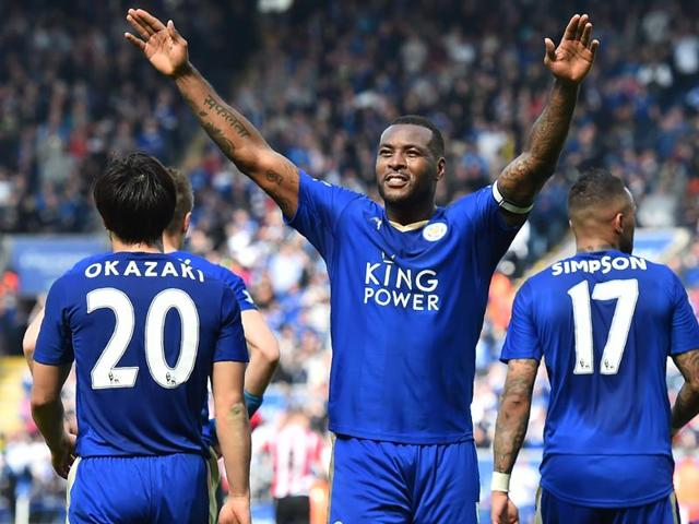 Leicester City's English defender Wes Morgan celebrates after scoring during the English Premier League football match.