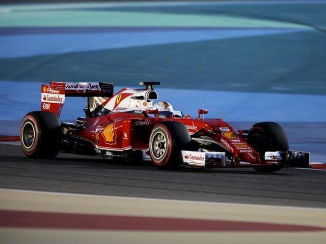 Ferrari driver Sebastian Vettel drives during qualifying session for Bahrain F1 GP.