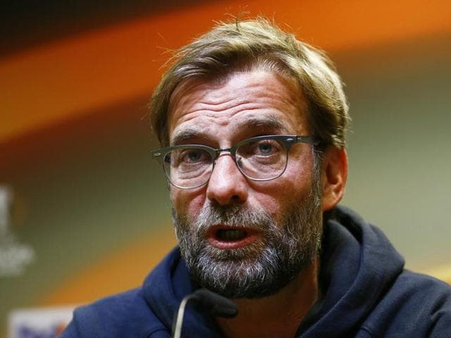Liverpool manager Juergen Klopp during the press conference.