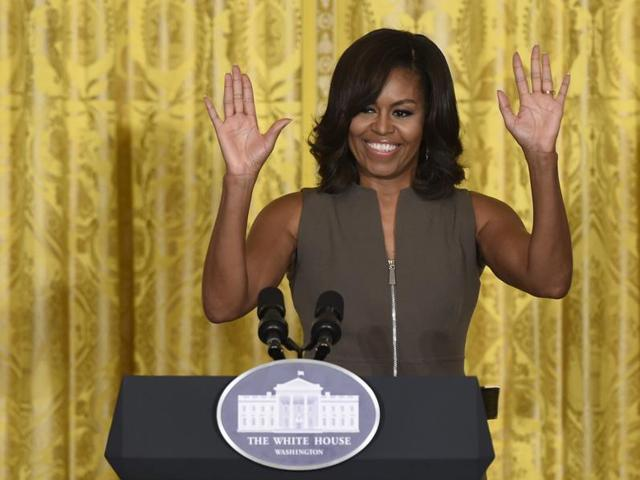 First lady Michelle Obama speaks in the East Room of the White House in Washington.