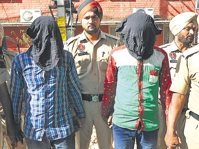 The drug suppliers in custody in Patiala on Wednesday.