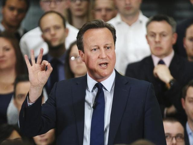 Prime Minister David Cameron holds a Q&A session on the European Union referendum with staff of PricewaterhouseCoopers on April 5.