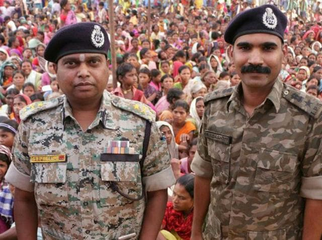 Bastar IG SRP Kalluri (L) with his SP RN Dash. Kalluri has been praised and vilified in equal measure over his methods dealing with the Maoist threat in Bastar.