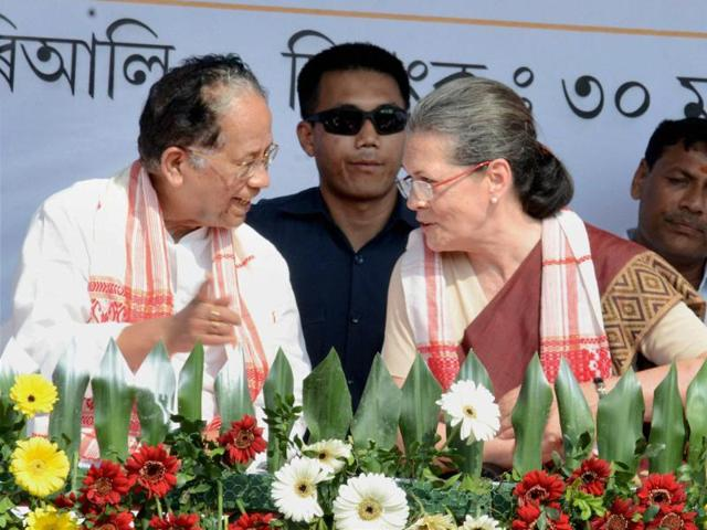 Congress president Sonia Gandhi and chief minister Tarun Gogoi at a public meeting in Assam.