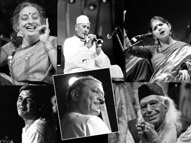 The legendary Indian singer Gangubai Hangal framed forever in this black and white photograph by artist Shobha Deepak Singh.