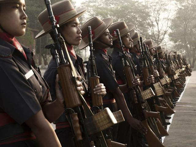 The Assam Rifles inducted 100 women after a year-long training programme at the Assam Rifles Training Centre and School in Nagaland.