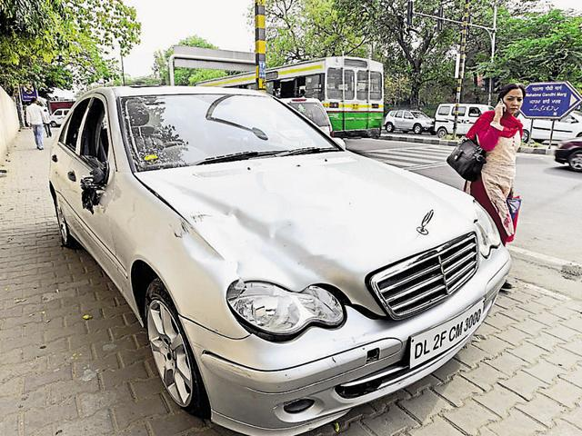 Father of 33-year-old Sidharth Sharma  who was killed when a speeding Mercedes car allegedly driven by a teen, hit him while he was crossing the road on April 5, 2016,  in New Delhi.