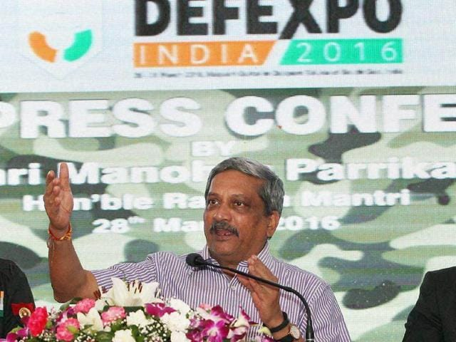 Defence minister Parrikar is expected to travel to Beijing, China, on April 17-18. He will call on Chinese President Xi Jinping as well as his counterpart, Chang Wanquan. ( Photo by Sonu Mehta/ Hindustan Times)(Hindustan Times)
