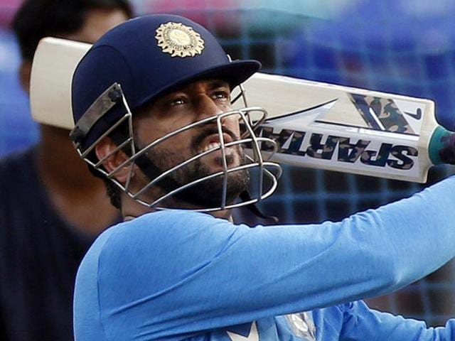 India's Mahendra Dhoni bats during a practice session ahead of their ICC Twenty20 2016 Cricket World Cup.