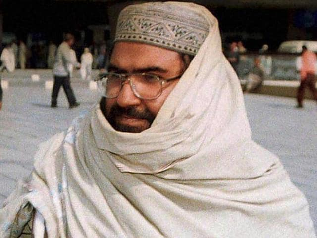 File photo of Maulana Masood Azhar at the Karachi airport in Pakistan.