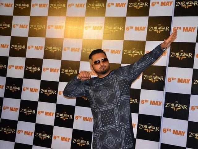 Mumbai: Singer Yo Yo Honey Singh during the trailer launch of the Punjabi film Zorawar, in Mumbai, on March 10, 2016. (Photo: IANS)